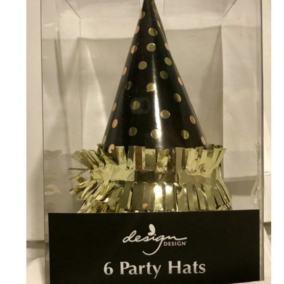 Gold Dots On Black Party Hats set of 6 new in box